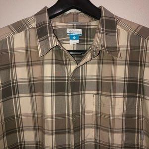Columbia short-sleeve 2XT shirt, brown/beige plaid